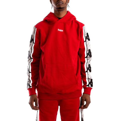 Kappa Authentic Bzaliab Red Dk Grey Silver Hoodie