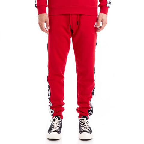 Kappa 222 Banda Alanz Alternating Banda Red Black White Sweatpants