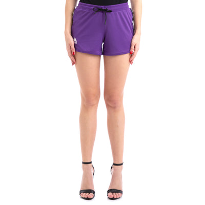 Kappa 222 Banda Anguy Alternating Banda Violet White Black Shorts
