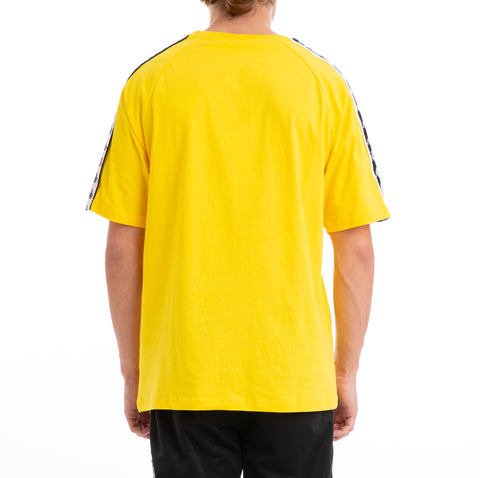 Kappa 222 Banda Coen Alternating Banda  Yellow Black White T-Shirt