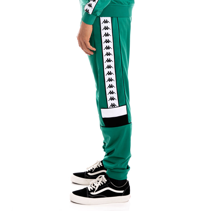 Kappa 222 Banda Memzz Green Black White Trackpants