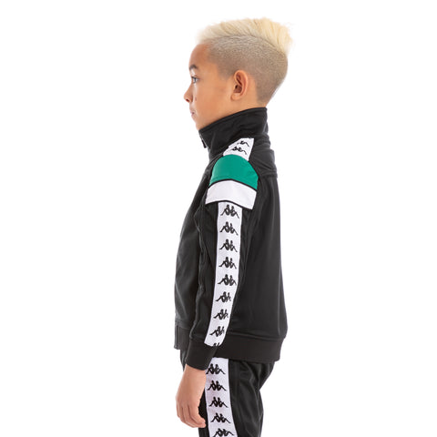 Kids 222 Banda Merez Slim Black Green White Track Jacket_2