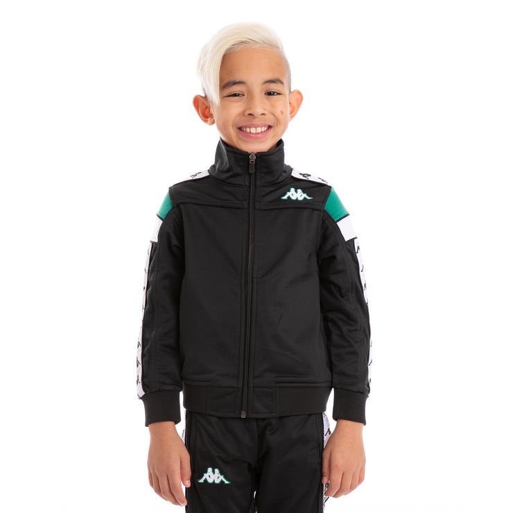 Kids 222 Banda Merez Slim Black Green White Track Jacket_1