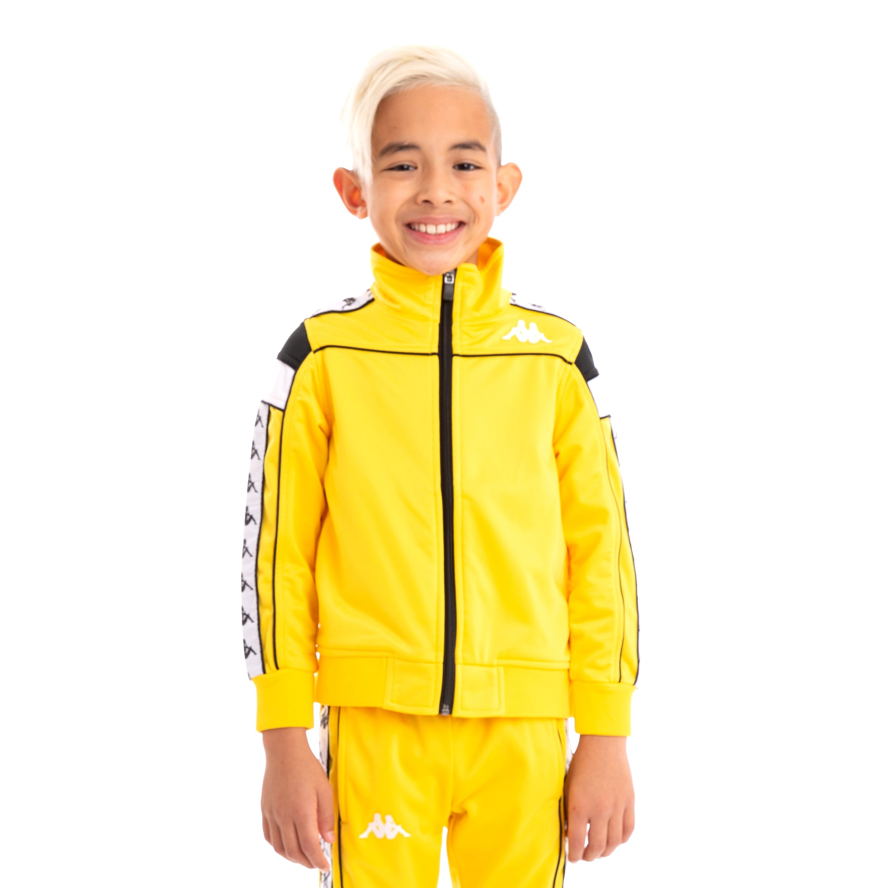 60a7c8a367 Kids 222 Banda Merez Slim Yellow Black White Track Jacket – Kappa USA