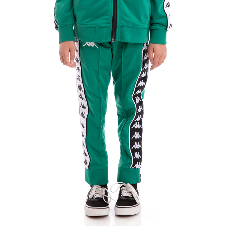 Kids 222 Banda Rastoria Slim Alternating Banda Green Black White Trackpants