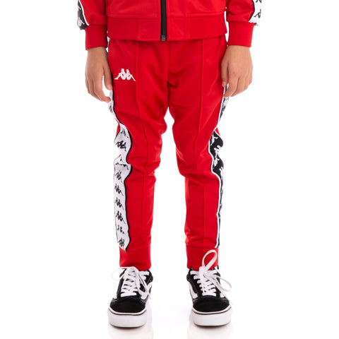 Kids 222 Banda Rastoria Slim Alternating Banda Red Black White Trackpants