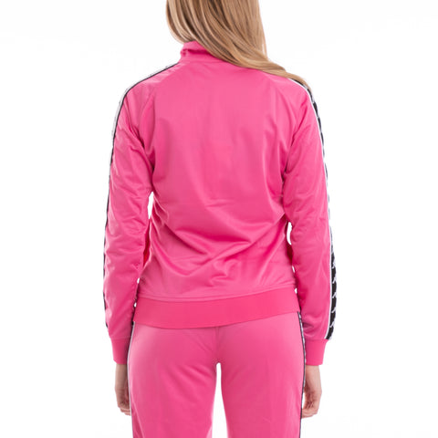 222 Banda Wanniston Slim Alternating Banda Fuchsia Black White Track Jacket
