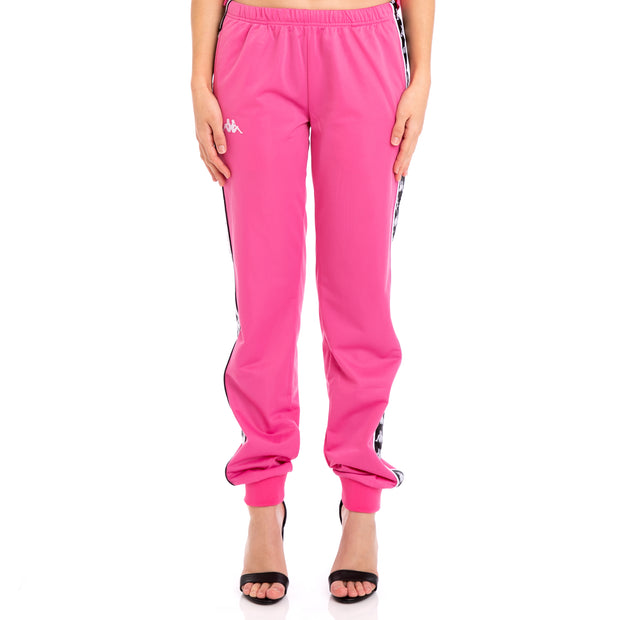 222 Banda Wrastoria Slim Alternating Banda Fuchsia Black White Track Pants