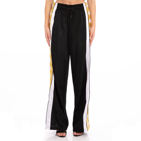 Kappa 222 Banda 10 Baish Black White Yellow Snap Pants