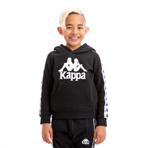 Kappa Kids 222 Banda Hurtado Alternating Banda Black White Hoodie