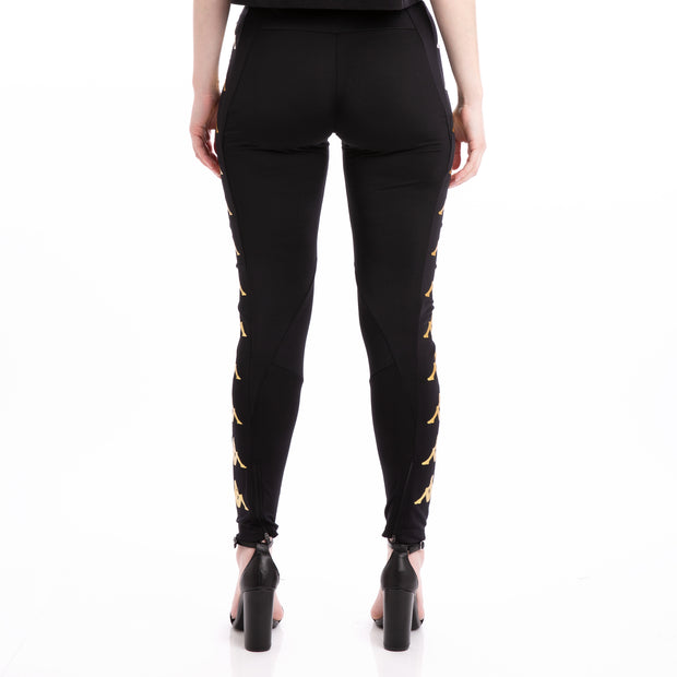 Kappa 222 Banda 10 Bayap Black Yellow Gold Leggings
