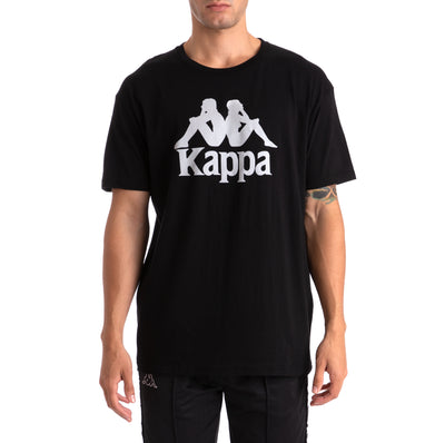 Kappa Authentic Estessi Black Grey Silver T-Shirt