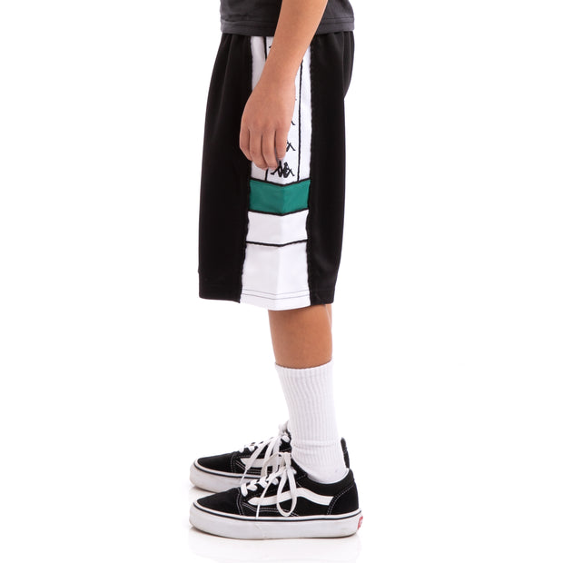 Kappa Kids 222 Banda Arawa Black White Green Shorts