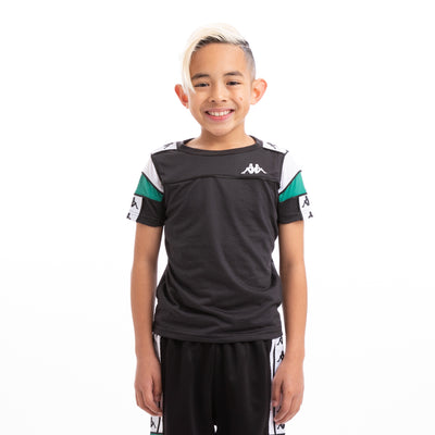 Kappa Kids 222 Banda Arar Slim Black White Green T-Shirt