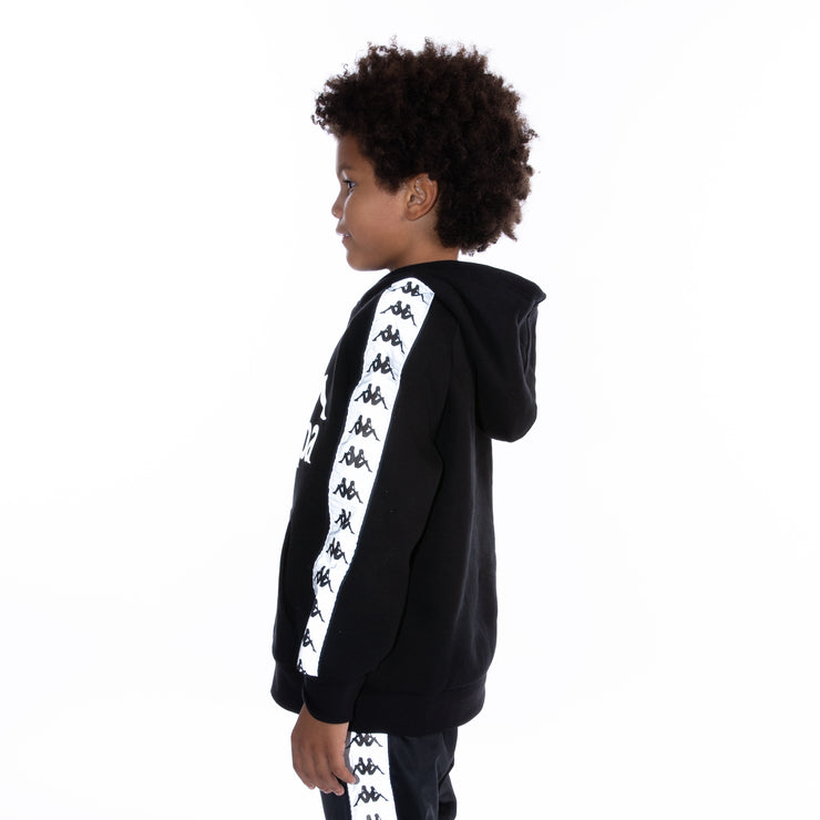 Kids 222 Banda Deniss Reflective Hoodie - Black Grey Reflective