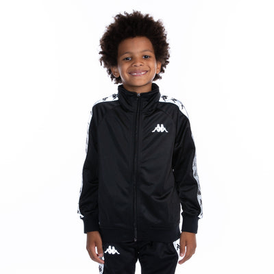 Kids 222 Banda Joseph Reflective Track Jacket - Black Grey Reflective