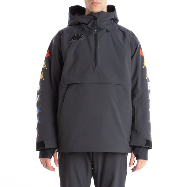 6Cento 644B Padded Anorak Jacket - Black Lt Rainbow