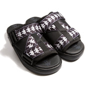 222 Banda Mitel 1 Black White Black Sandals