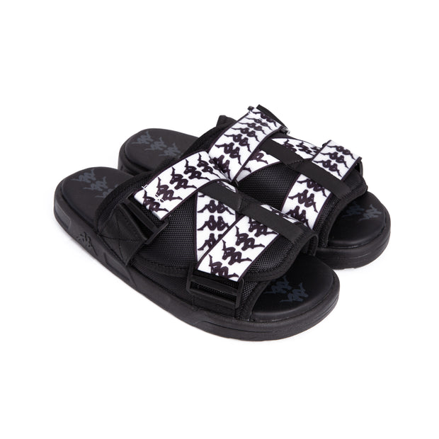 222 Banda Mitel 1 Black White Sandals