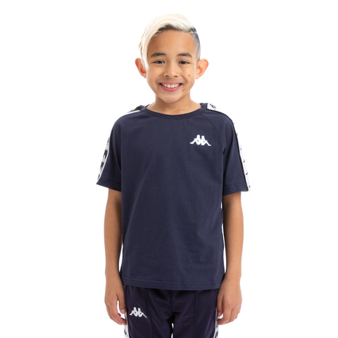Kappa Kids 222 Banda Coen Alternating Banda Blue Black White T-Shirt
