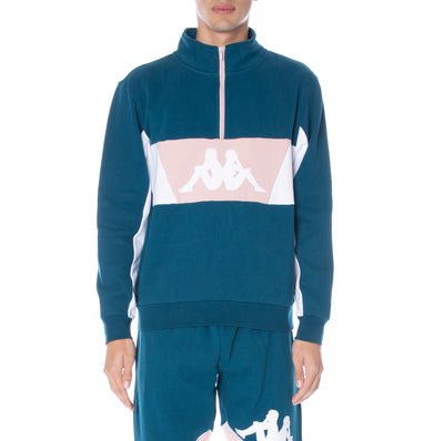 Authentic 90 Barte Half Zip Pullover - Blue Petrol Wht Pink
