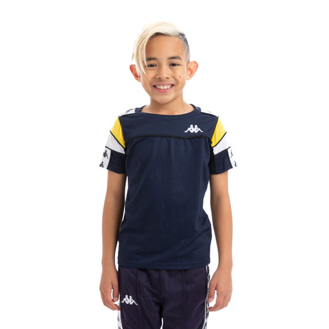 Kappa Kids 222 Banda Arar Slim Bluemar Yellow White T-Shirt