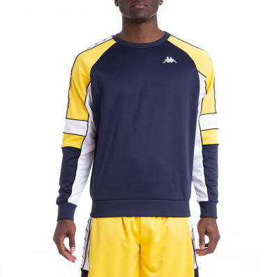 Kappa 222 Banda Arlton Bluemar Yellow White Sweatshirt