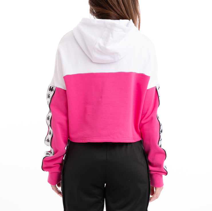 Kappa Authentic Byta White Fuchsia Black Hoodie