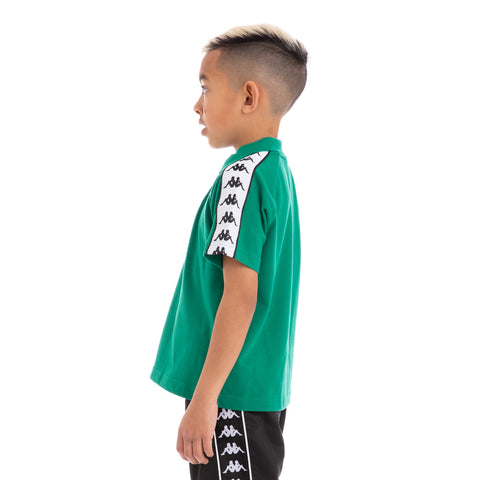 KAPPA Kids 222 Banda Calsi Alternating Banda Green Black White Polo