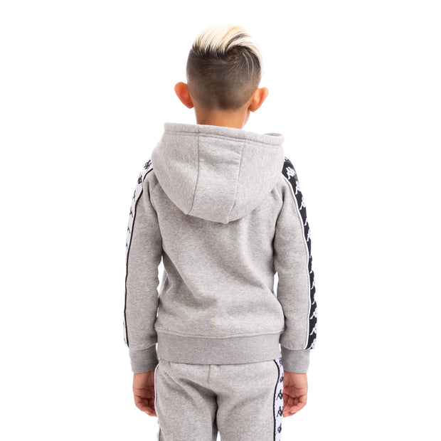 Kappa Kids 222 Banda Hurtado Alternating Banda Grey Black White Hoodie