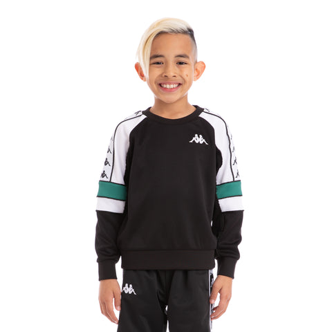 Kappa Kids 222 Banda Arlton Black White Green Sweatshirt