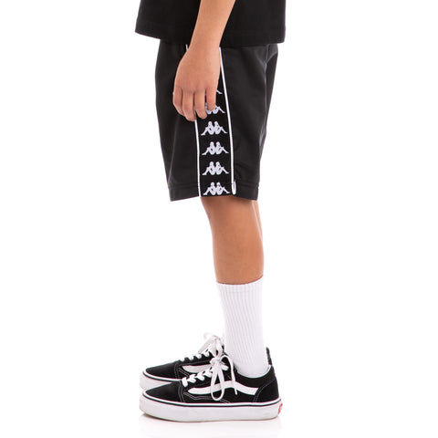 Kappa Kids 222 Banda Treadwell Alternating Banda Black White Shorts