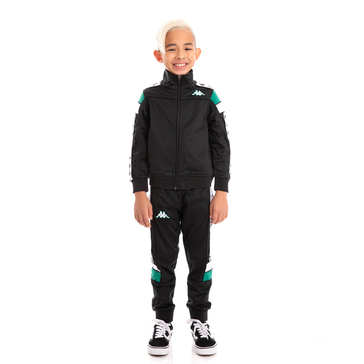 Kids 222 Banda Merez and Mens Black Green White Track Suit Set