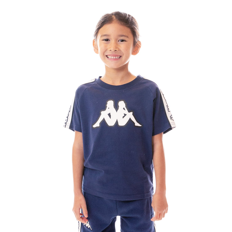 Kids Logo Tape Avirec T-Shirt Blue Marine White