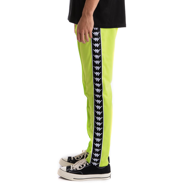 Kappa Authentic Bascile Up & Down Green Lime Black Trackpants