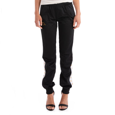 Kappa 222 Banda Wrastoria Slim Black White Gold Track Pants