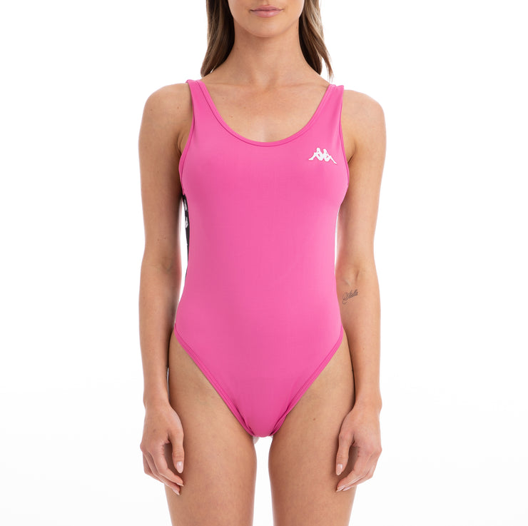Kappa 222 Banda Auber Alternating Banda Fuchsia Black White Bodysuit