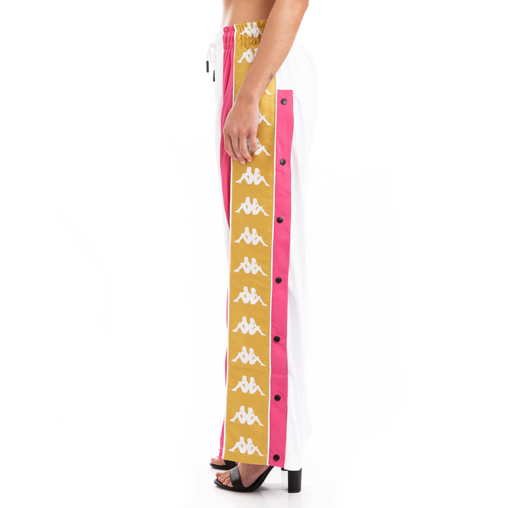 Kappa 222 Banda 10 Baish White Fuchsia Yellow Snap Pants