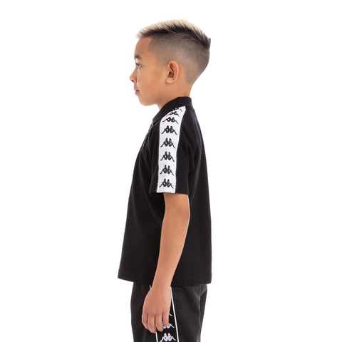 Kappa Kids 222 Banda Calsi Alternating Banda Black White Polo