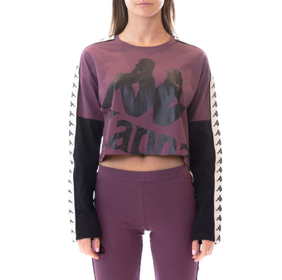 222 Banda Boculus Long Sleeves Tee - Plum White Egg Black