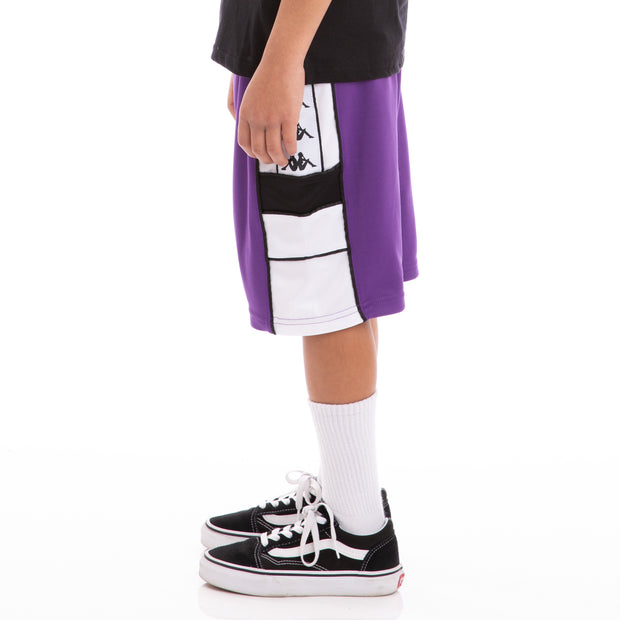 Kappa Kids 222 Banda Arawa Violet Black White Shorts