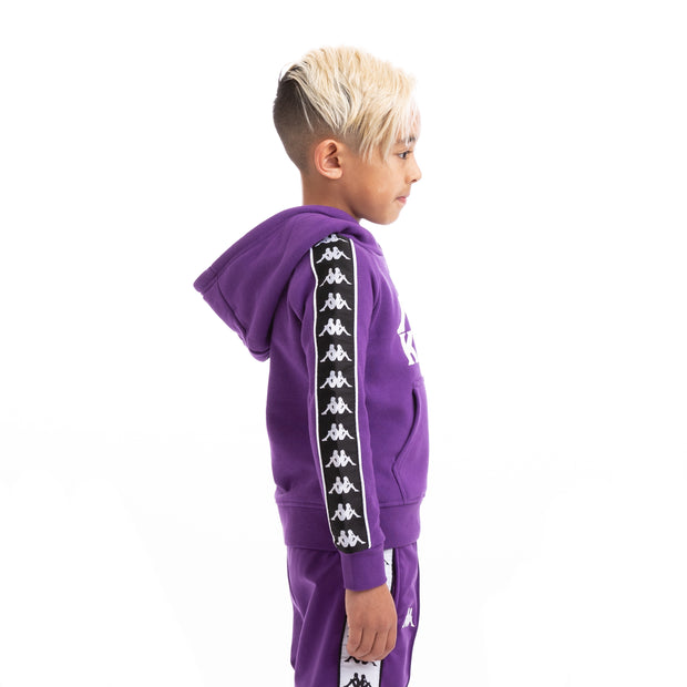 Kappa Kids 222 Banda Hurtado Alternating Banda Violet Black White Hoodie