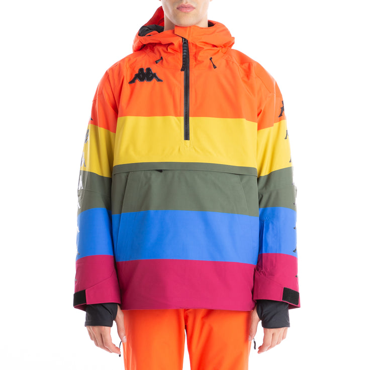 6Cento 644B Padded Anorak Jacket Rainbow Stripes