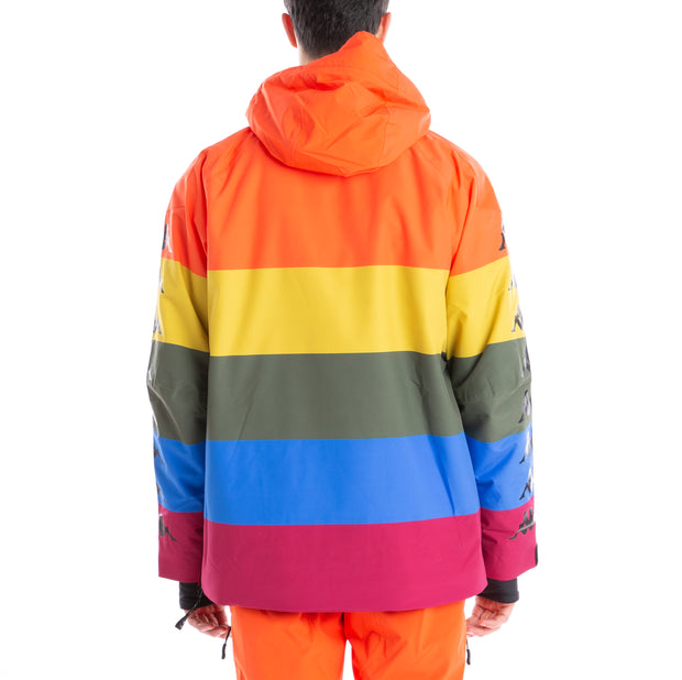6Cento 644B Padded Anorak Jacket - Rainbow Stripes