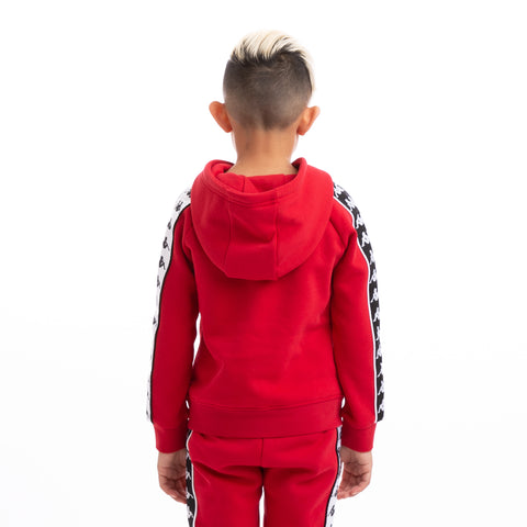 Kappa Kids 222 Banda Hurtado Alternating Banda Red Black White Hoodie