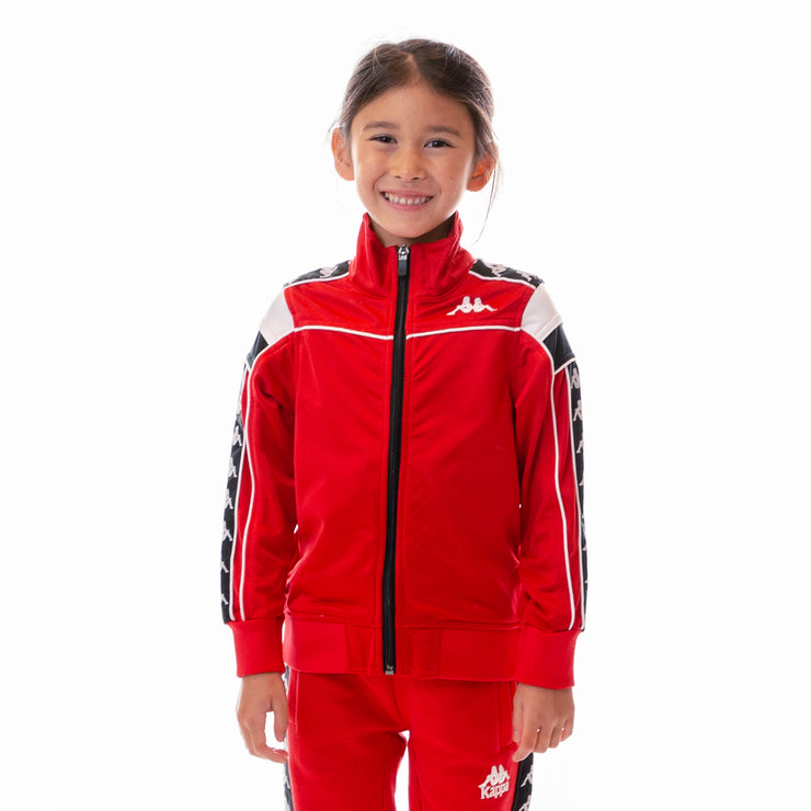 Kids 222 Banda Merez Slim Track Jacket - Red White Black