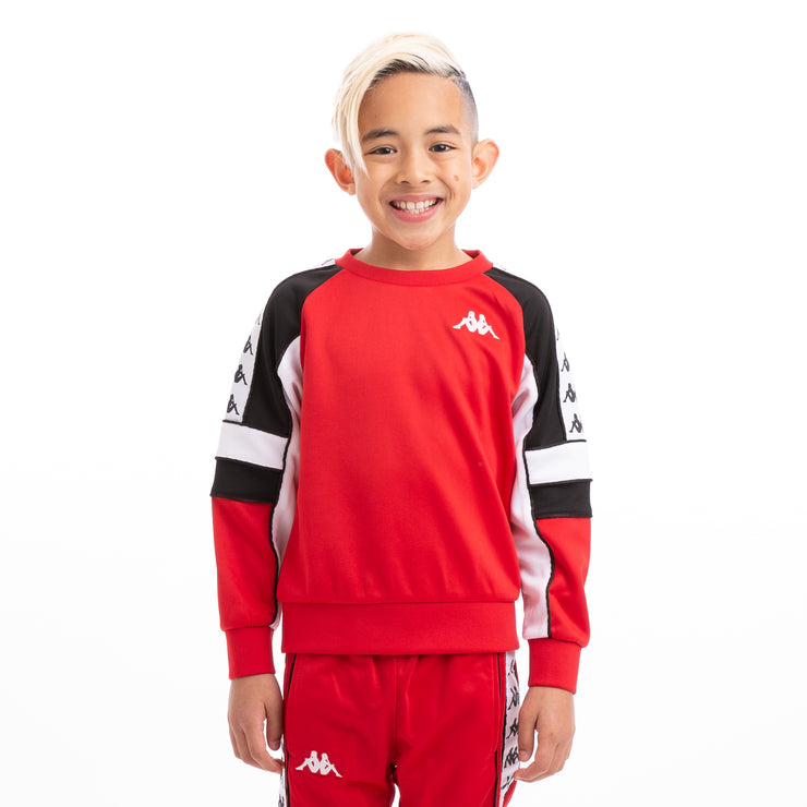 Kappa Kids 222 Banda Arlton Red Black White Sweatshirt