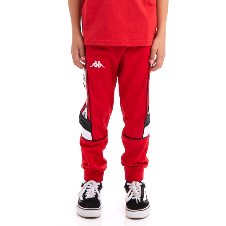 Kappa Kids 222 Banda Mems Slim Red Black White Trackpants