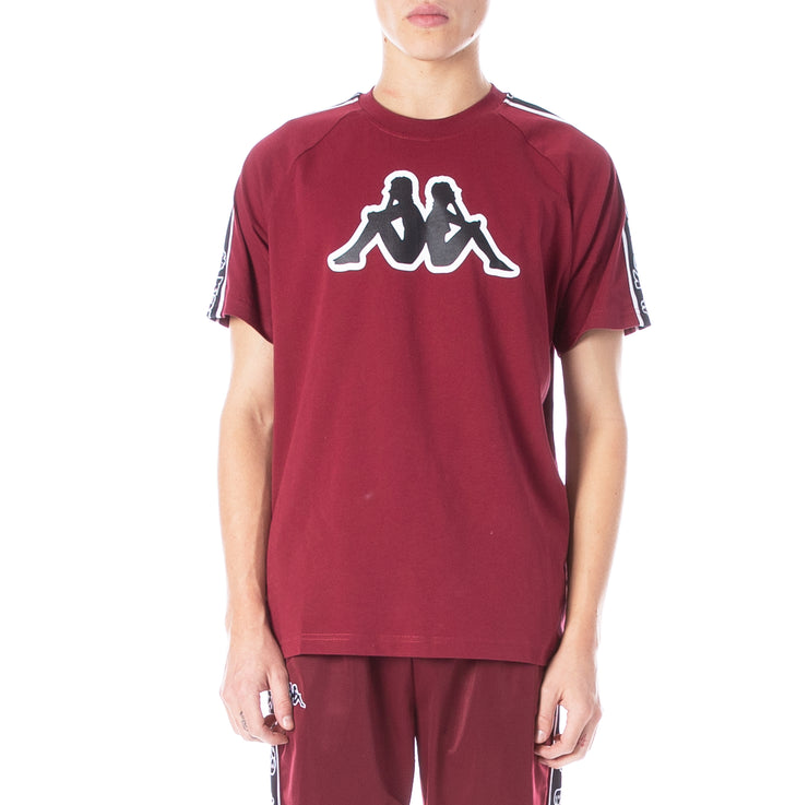 Logo Tape Avirec T-Shirt Red Bordeaux Black White