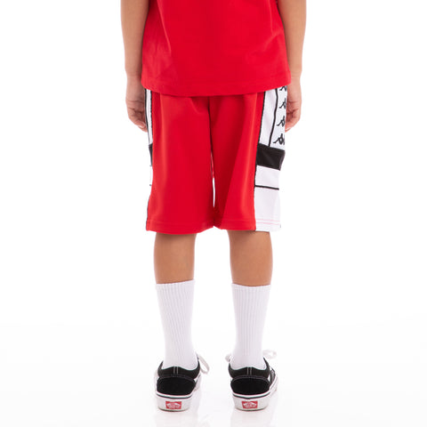 Kappa Kids 222 Banda Arawa Red Black White Shorts